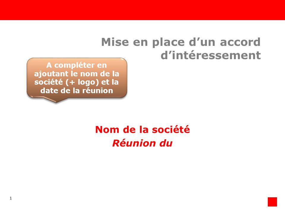 1 Mise en place dun accord dintéressement Nom de la société Réunion du A compléter en ajoutant le nom de la société (+ logo) et la date de la réunion A compléter en ajoutant le nom de la société (+ logo) et la date de la réunion