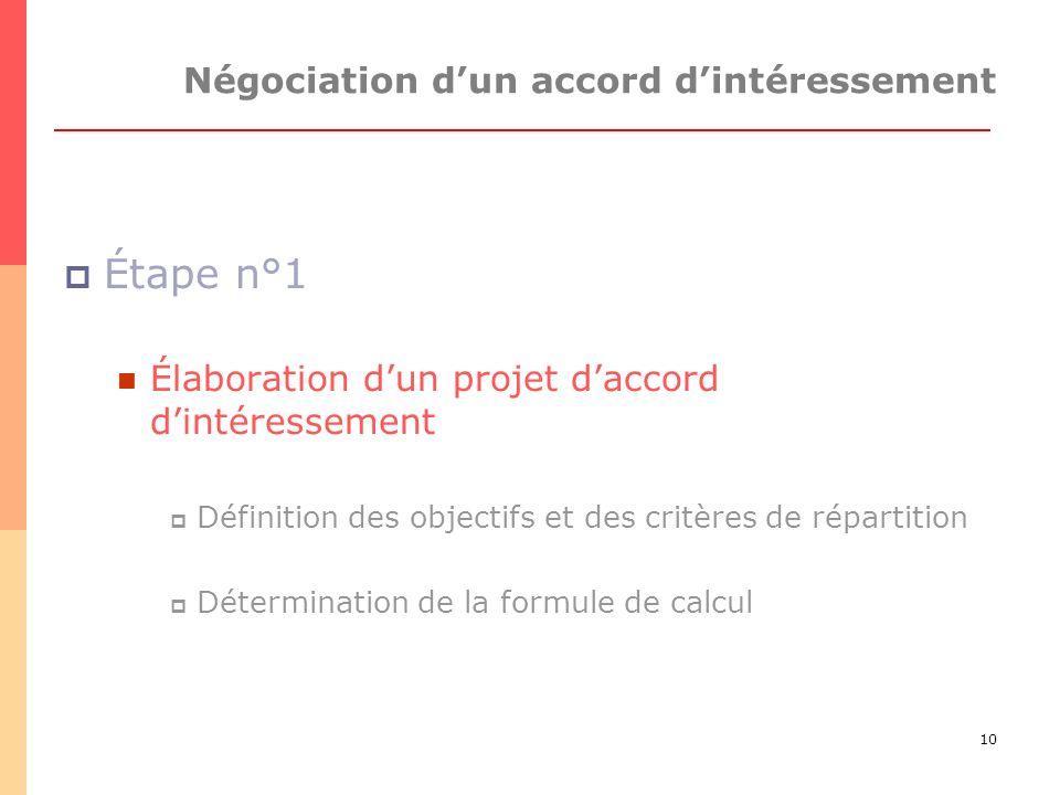 10 Négociation dun accord dintéressement Étape n°1 Élaboration dun projet daccord dintéressement Définition des objectifs et des critères de répartition Détermination de la formule de calcul