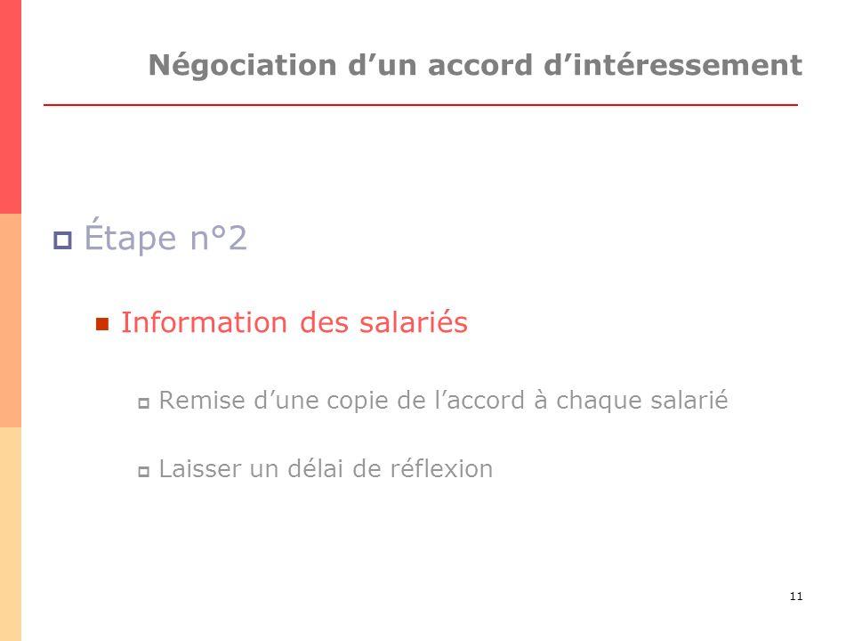 11 Négociation dun accord dintéressement Étape n°2 Information des salariés Remise dune copie de laccord à chaque salarié Laisser un délai de réflexion