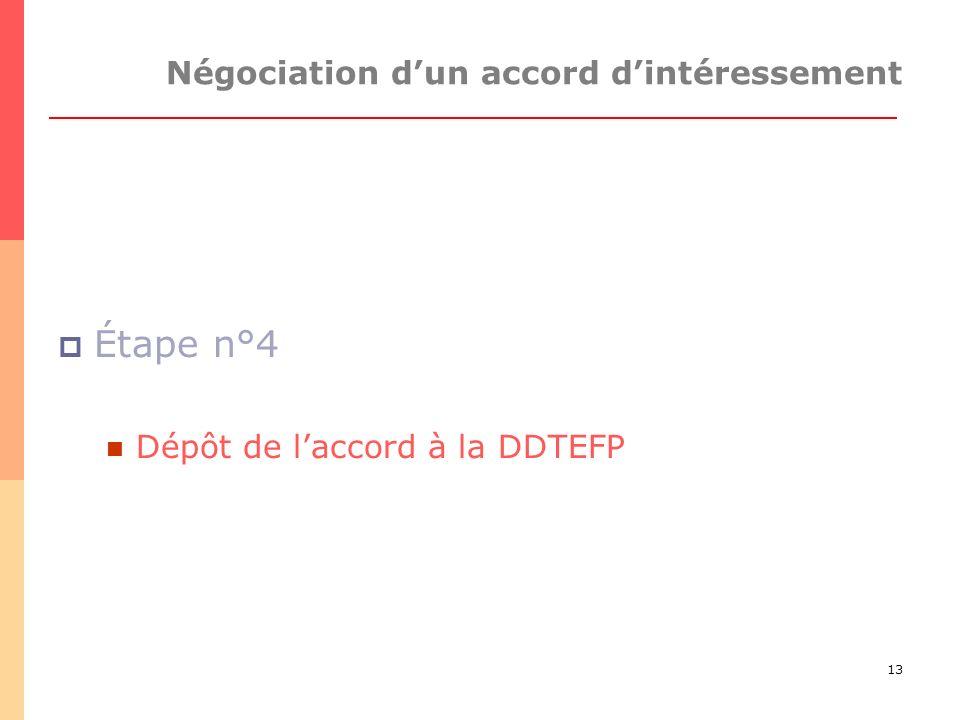 13 Négociation dun accord dintéressement Étape n°4 Dépôt de laccord à la DDTEFP