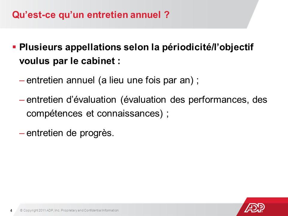 Plusieurs appellations selon la périodicité/lobjectif voulus par le cabinet : –entretien annuel (a lieu une fois par an) ; –entretien dévaluation (éva