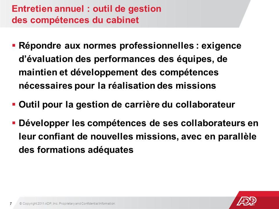Entretien annuel : outil de gestion des compétences du cabinet Répondre aux normes professionnelles : exigence dévaluation des performances des équipe