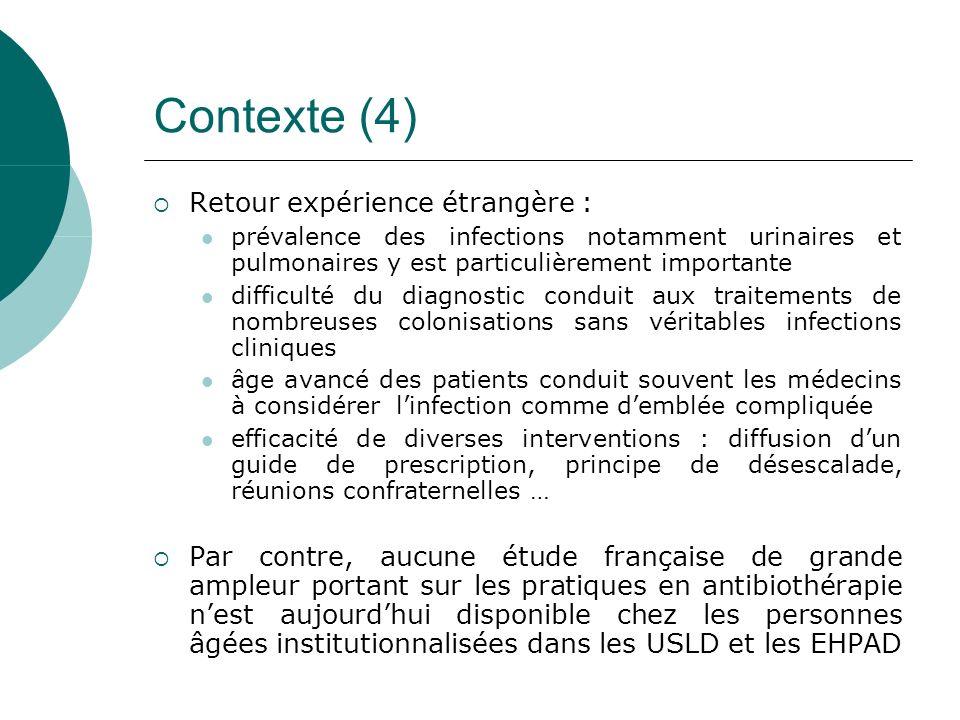Objectif Principal: évaluation dune action de santé destinée à améliorer les pratiques diagnostiques et dantibiothérapie des infections urinaires et pulmonaires dans les EHPAD et USLD de linter région Est de la France Secondaire : amélioration du ratio cas probable/cas confirmé