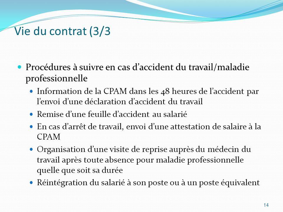 Vie du contrat (3/3 Procédures à suivre en cas daccident du travail/maladie professionnelle Information de la CPAM dans les 48 heures de laccident par