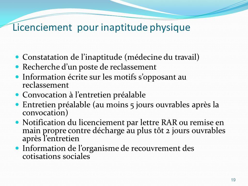 Licenciement pour inaptitude physique Constatation de linaptitude (médecine du travail) Recherche dun poste de reclassement Information écrite sur les