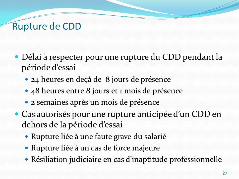 Rupture de CDD Délai à respecter pour une rupture du CDD pendant la période dessai 24 heures en deçà de 8 jours de présence 48 heures entre 8 jours et