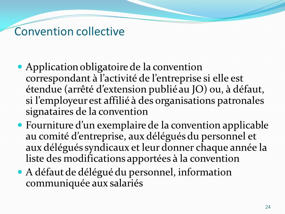 Convention collective Application obligatoire de la convention correspondant à lactivité de lentreprise si elle est étendue (arrêté dextension publié