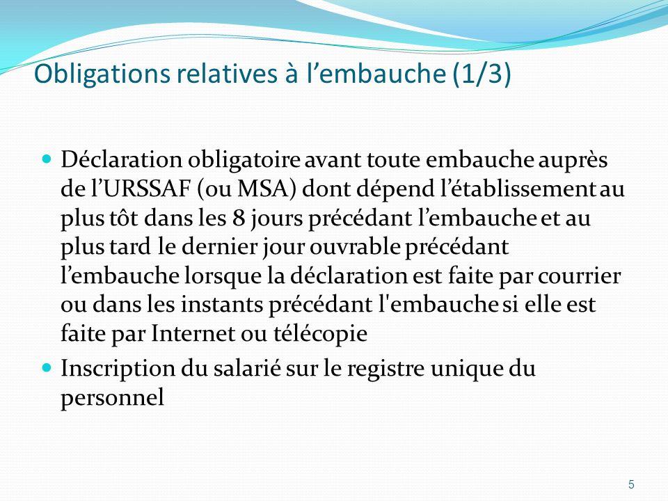 Obligations relatives à lembauche (1/3) Déclaration obligatoire avant toute embauche auprès de lURSSAF (ou MSA) dont dépend létablissement au plus tôt