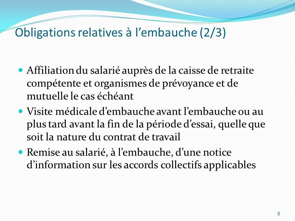 Obligations relatives à lembauche (2/3) Affiliation du salarié auprès de la caisse de retraite compétente et organismes de prévoyance et de mutuelle l