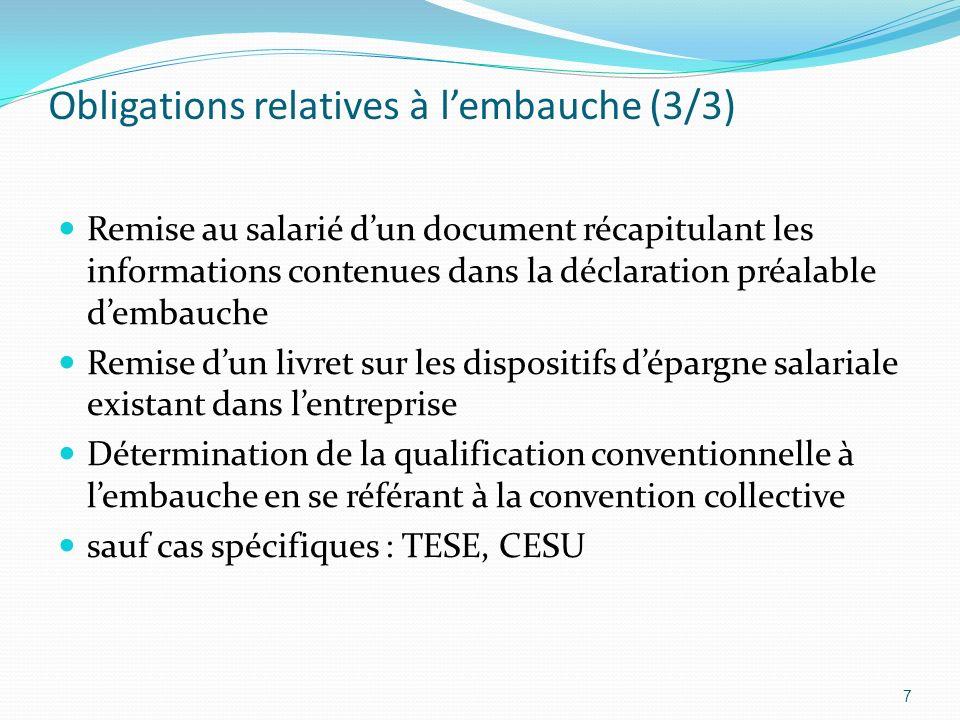 Obligations relatives à lembauche (3/3) Remise au salarié dun document récapitulant les informations contenues dans la déclaration préalable dembauche