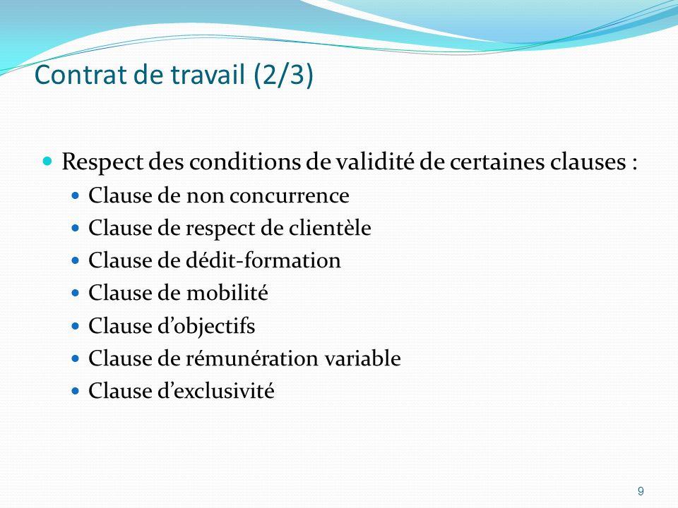 Contrat de travail (2/3) Respect des conditions de validité de certaines clauses : Clause de non concurrence Clause de respect de clientèle Clause de