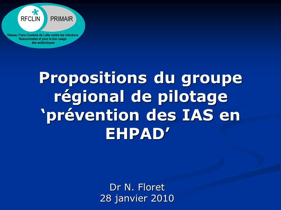 Propositions du groupe régional de pilotage prévention des IAS en EHPAD Propositions du groupe régional de pilotage prévention des IAS en EHPAD Dr N.