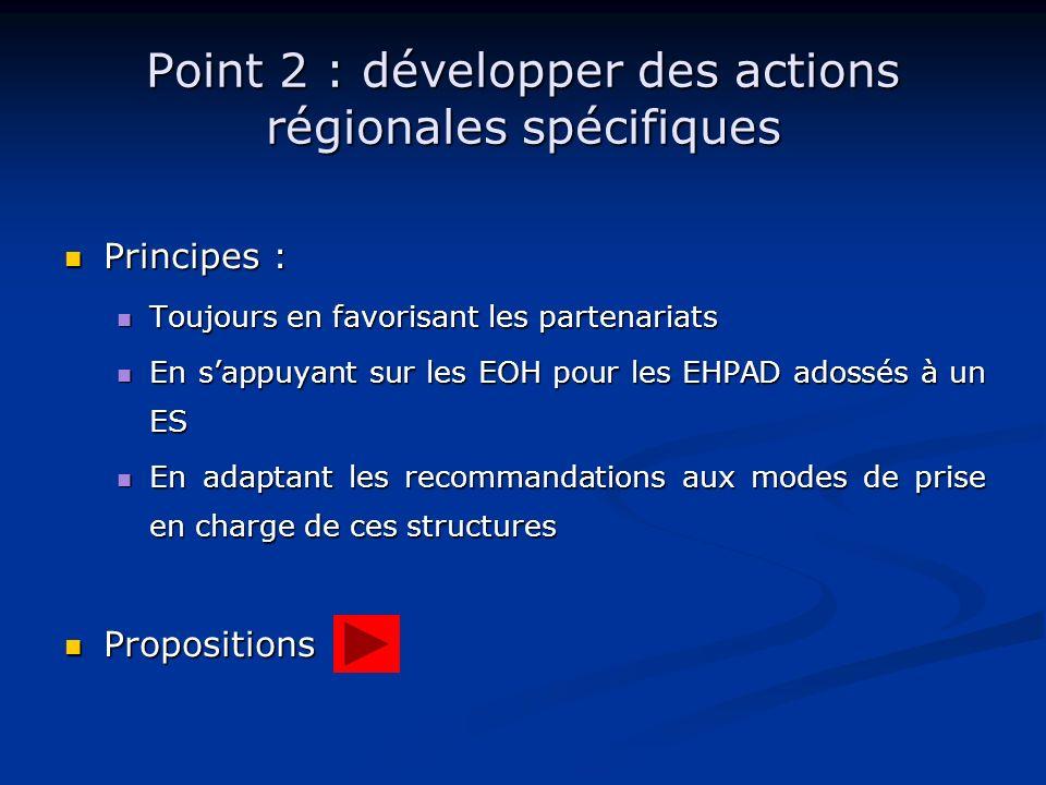 Point 2 : développer des actions régionales spécifiques Principes : Principes : Toujours en favorisant les partenariats Toujours en favorisant les par