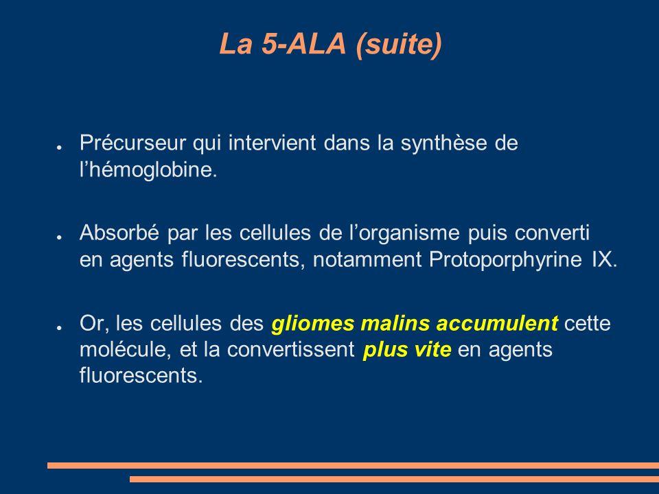 La 5-ALA (suite) Précurseur qui intervient dans la synthèse de lhémoglobine. Absorbé par les cellules de lorganisme puis converti en agents fluorescen