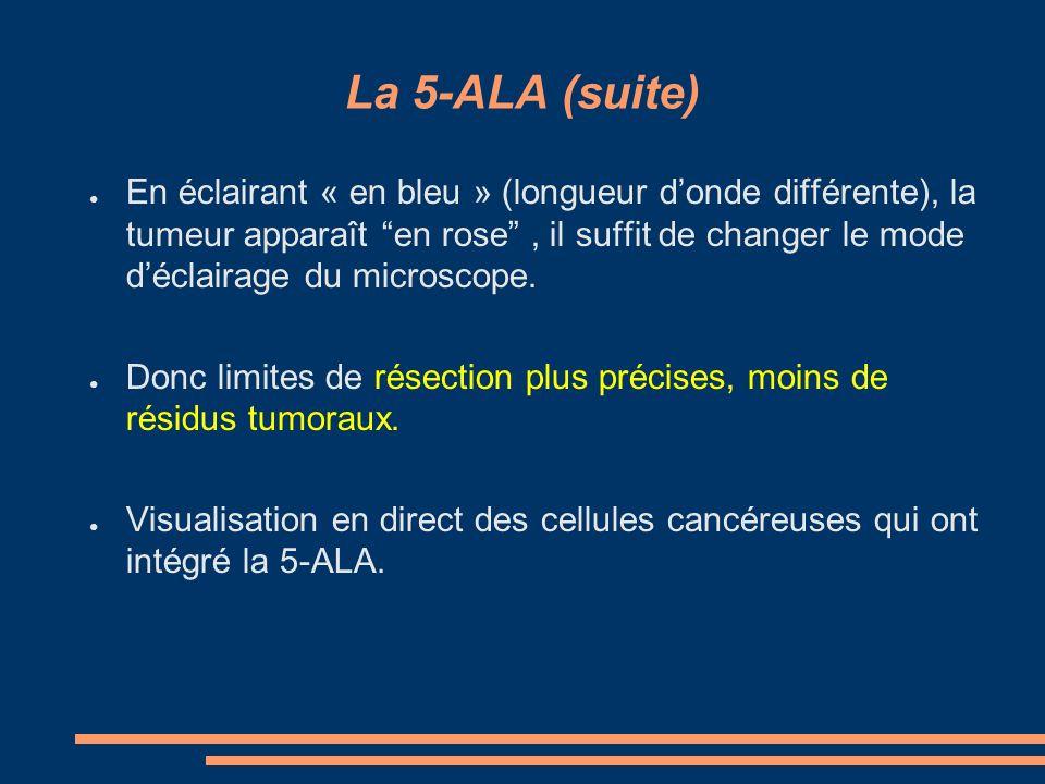 La 5-ALA (suite) En éclairant « en bleu » (longueur donde différente), la tumeur apparaît en rose, il suffit de changer le mode déclairage du microsco