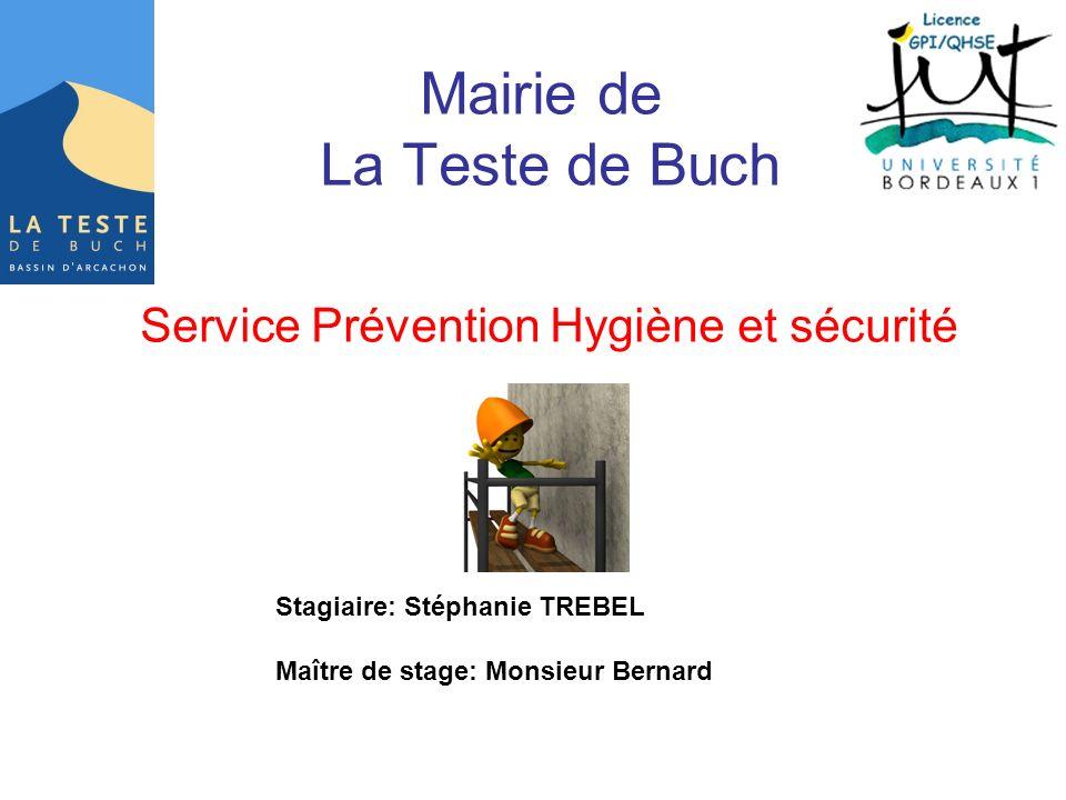 Mairie de La Teste de Buch Service Prévention Hygiène et sécurité Stagiaire: Stéphanie TREBEL Maître de stage: Monsieur Bernard