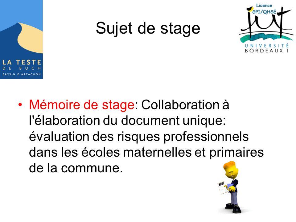 Sujet de stage Mémoire de stage: Collaboration à l'élaboration du document unique: évaluation des risques professionnels dans les écoles maternelles e