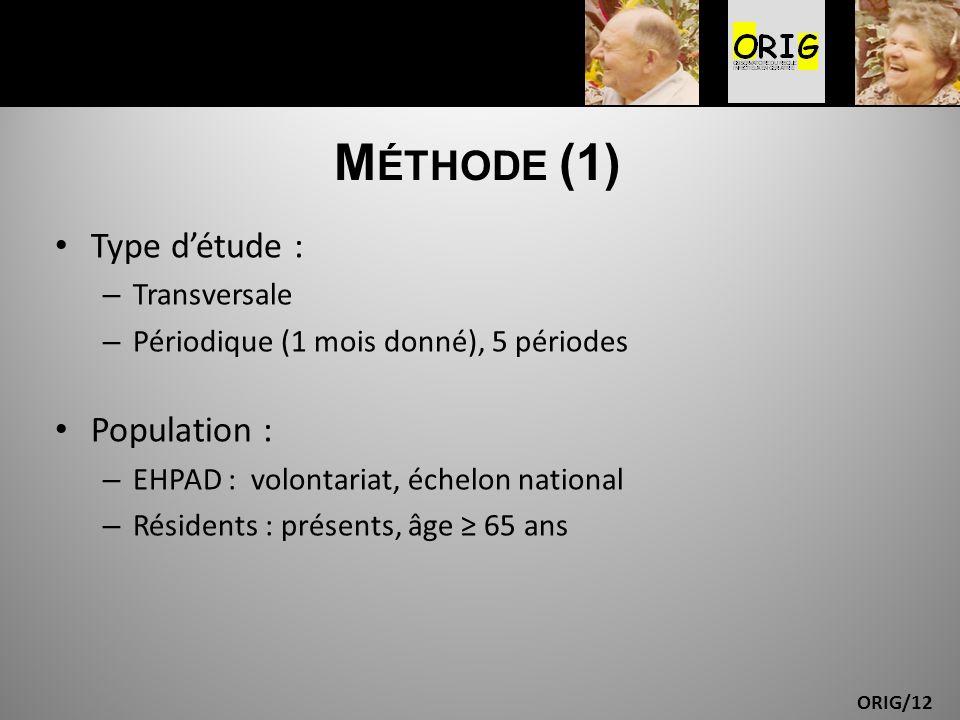 ORIG/12 M ÉTHODE (1) Type détude : – Transversale – Périodique (1 mois donné), 5 périodes Population : – EHPAD : volontariat, échelon national – Résid