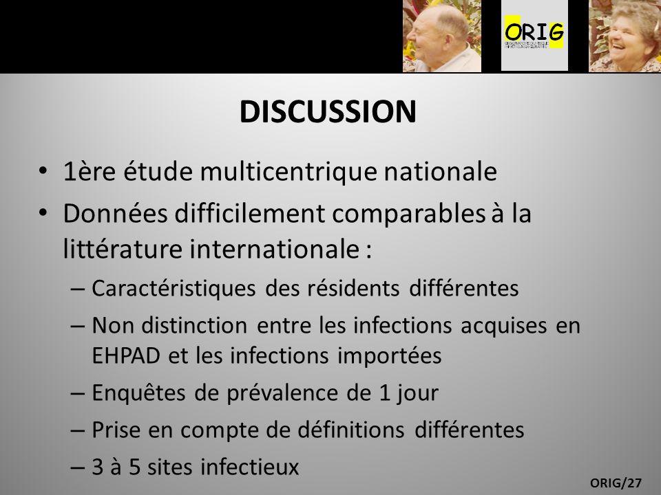 ORIG/27 DISCUSSION 1ère étude multicentrique nationale Données difficilement comparables à la littérature internationale : – Caractéristiques des rési
