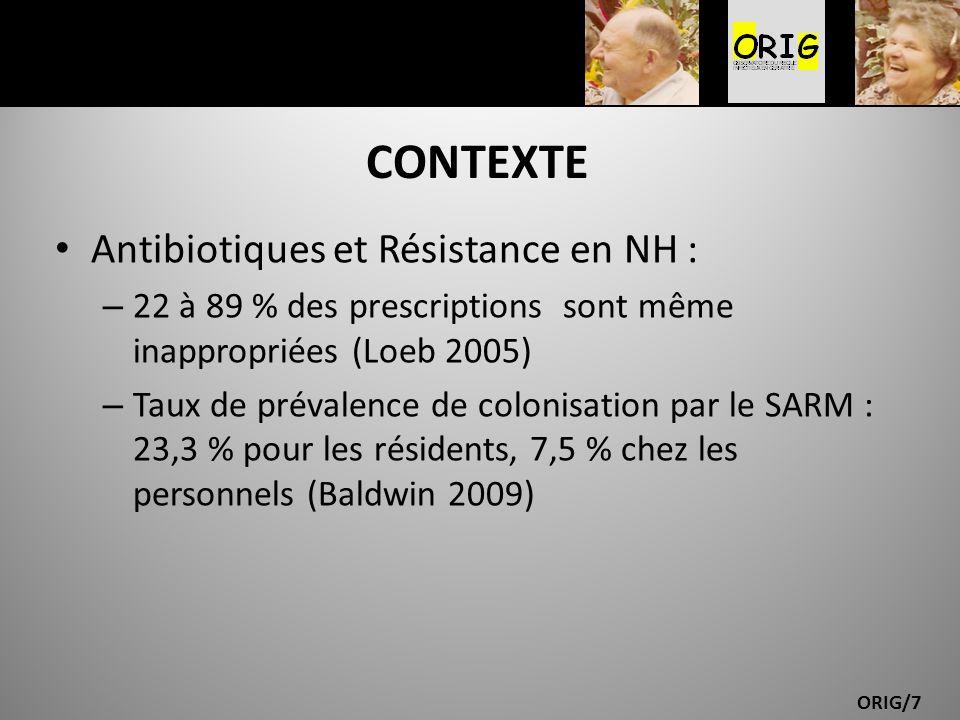 ORIG/7 CONTEXTE Antibiotiques et Résistance en NH : – 22 à 89 % des prescriptions sont même inappropriées (Loeb 2005) – Taux de prévalence de colonisa