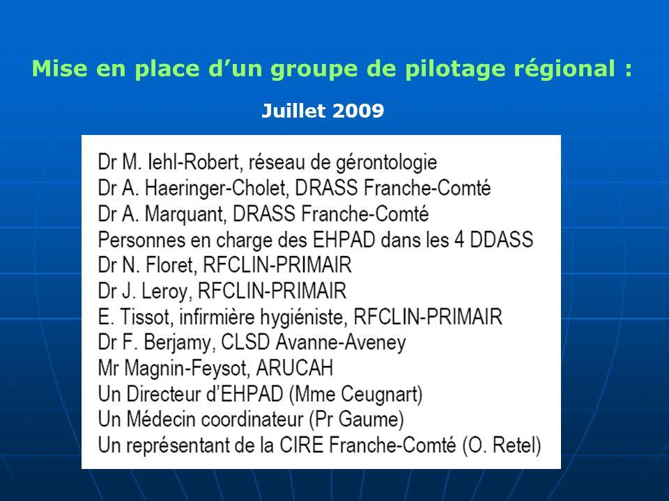 Mise en place dun groupe de pilotage régional : Juillet 2009
