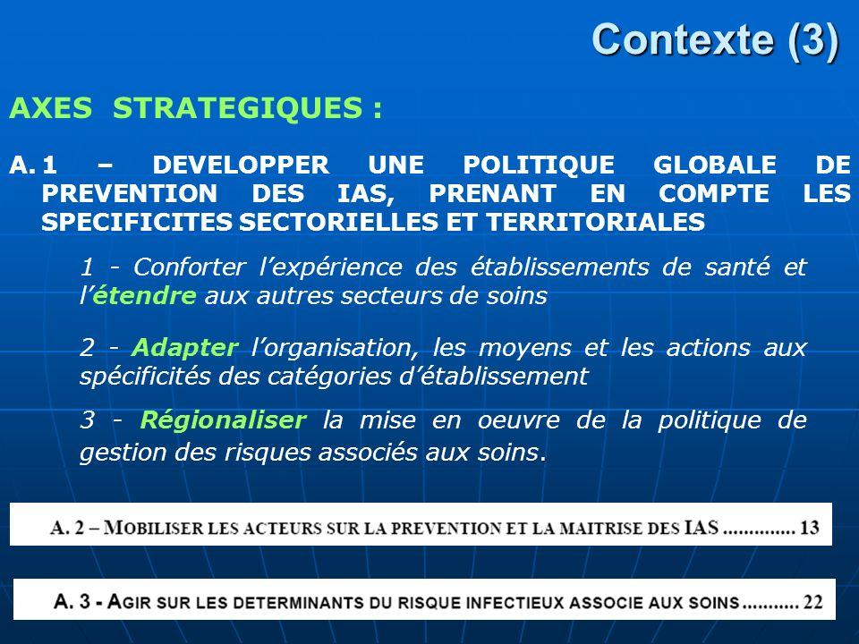 Contexte (3) A.1 – DEVELOPPER UNE POLITIQUE GLOBALE DE PREVENTION DES IAS, PRENANT EN COMPTE LES SPECIFICITES SECTORIELLES ET TERRITORIALES AXES STRATEGIQUES : 1 - Conforter lexpérience des établissements de santé et létendre aux autres secteurs de soins 2 - Adapter lorganisation, les moyens et les actions aux spécificités des catégories détablissement.