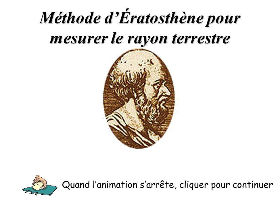 Méthode dÉratosthène pour mesurer le rayon terrestre Quand lanimation sarrête, cliquer pour continuer