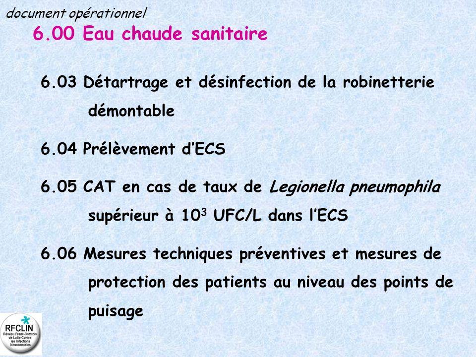 6.00 Eau chaude sanitaire 6.03 Détartrage et désinfection de la robinetterie démontable 6.04 Prélèvement dECS 6.05 CAT en cas de taux de Legionella pn
