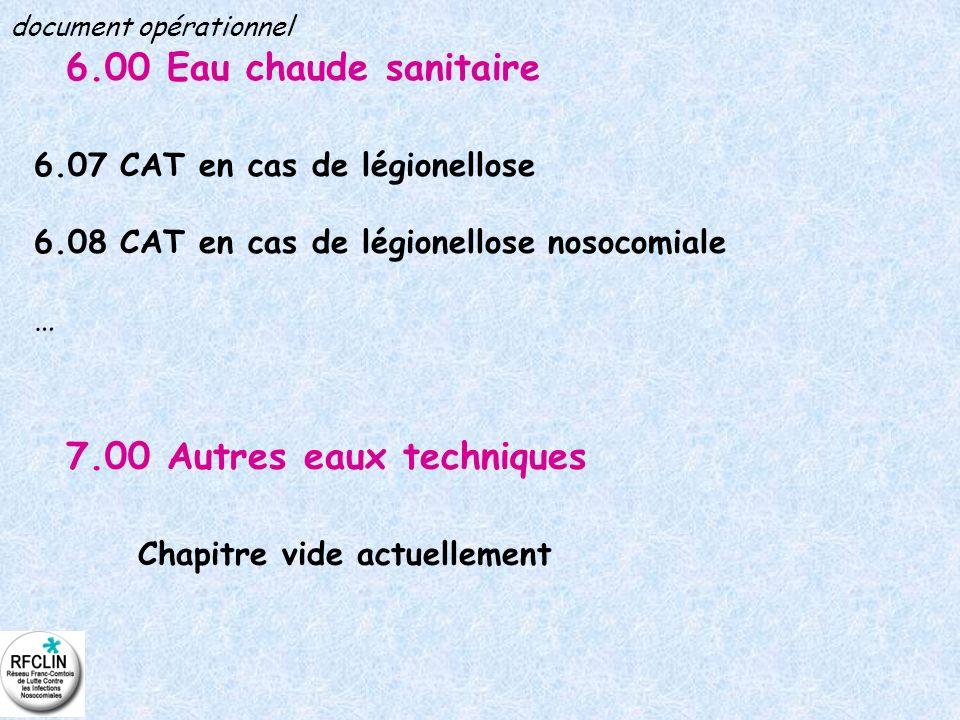 6.00 Eau chaude sanitaire 6.07 CAT en cas de légionellose 6.08 CAT en cas de légionellose nosocomiale … 7.00 Autres eaux techniques Chapitre vide actu
