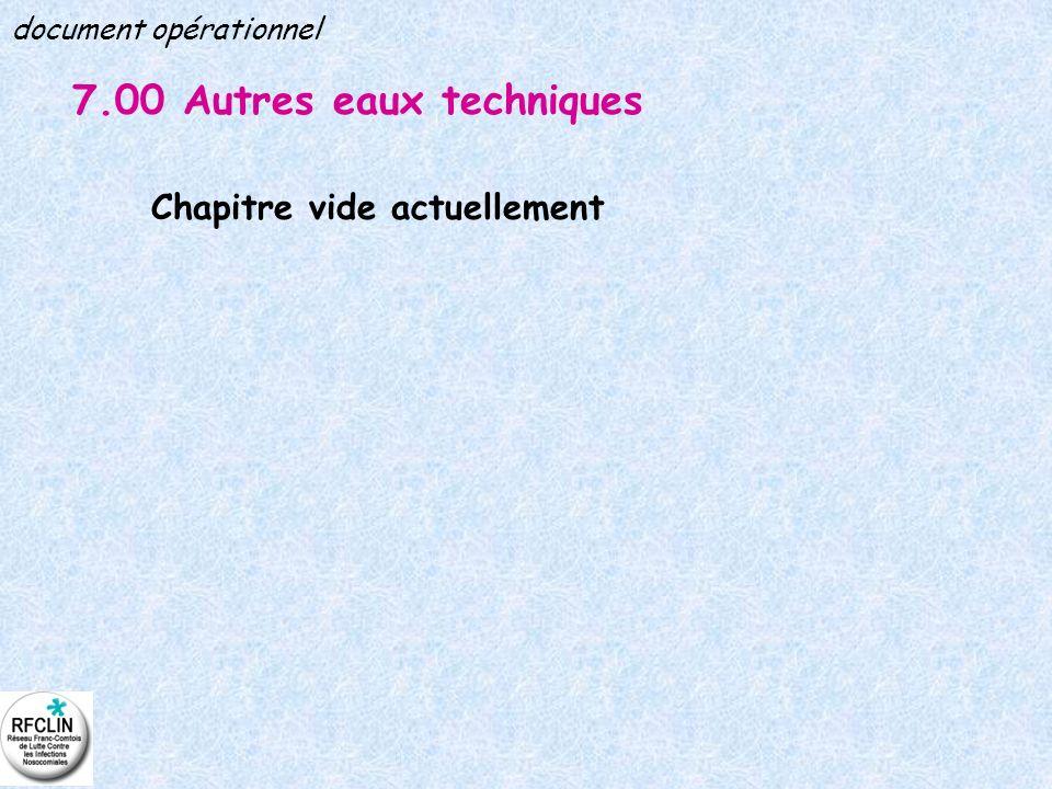 7.00 Autres eaux techniques Chapitre vide actuellement document opérationnel