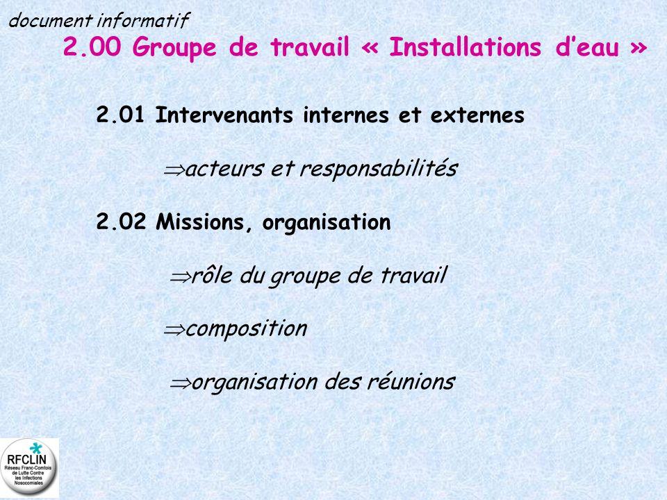 2.00 Groupe de travail « Installations deau » 2.01 Intervenants internes et externes acteurs et responsabilités 2.02 Missions, organisation rôle du gr