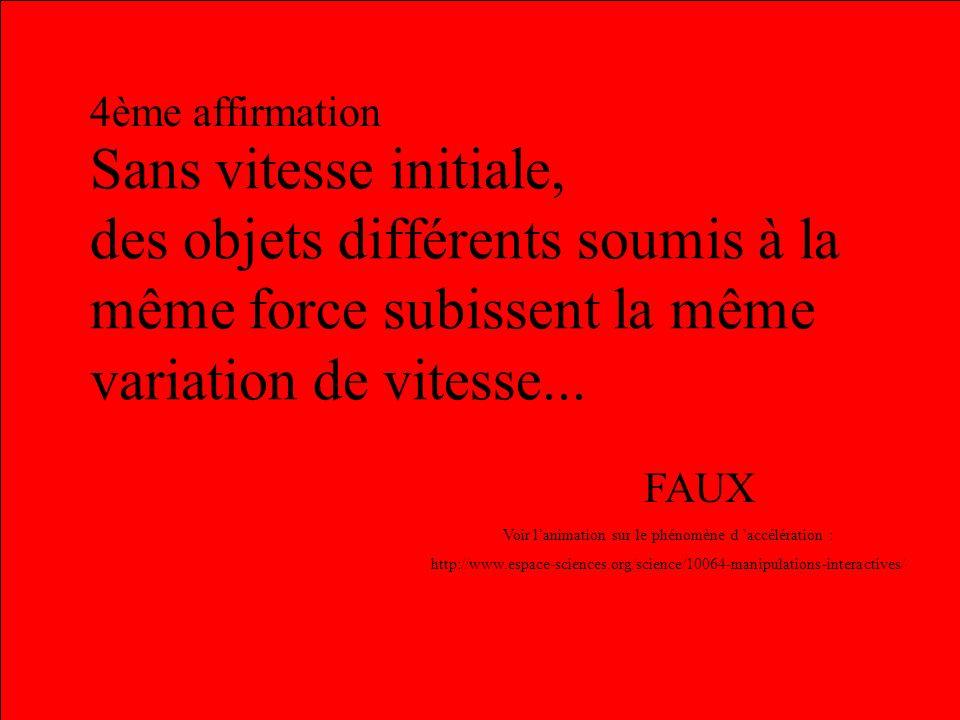 Le même objet soumis à la même force a toujours le même mouvement... 3ème affirmation FAUX Voir la 2ème animation : http://www.busoc.be/fr/microgravit