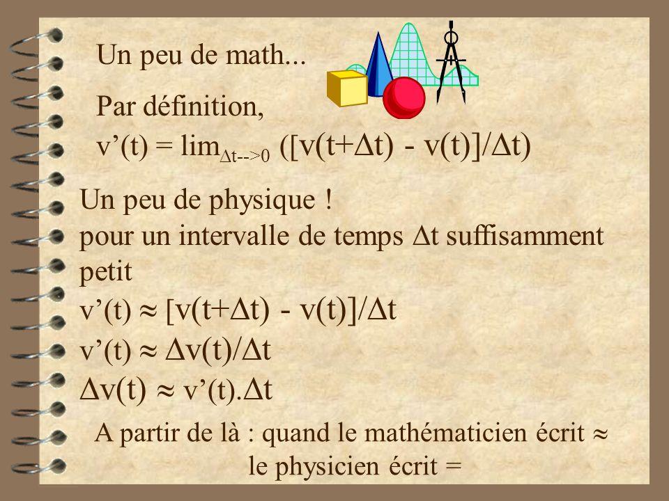 Par définition, v(t) = lim t-->0 ([ v(t+ t) - v(t)]/ t) Un peu de math... Un peu de physique ! pour un intervalle de temps t suffisamment petit v(t) [