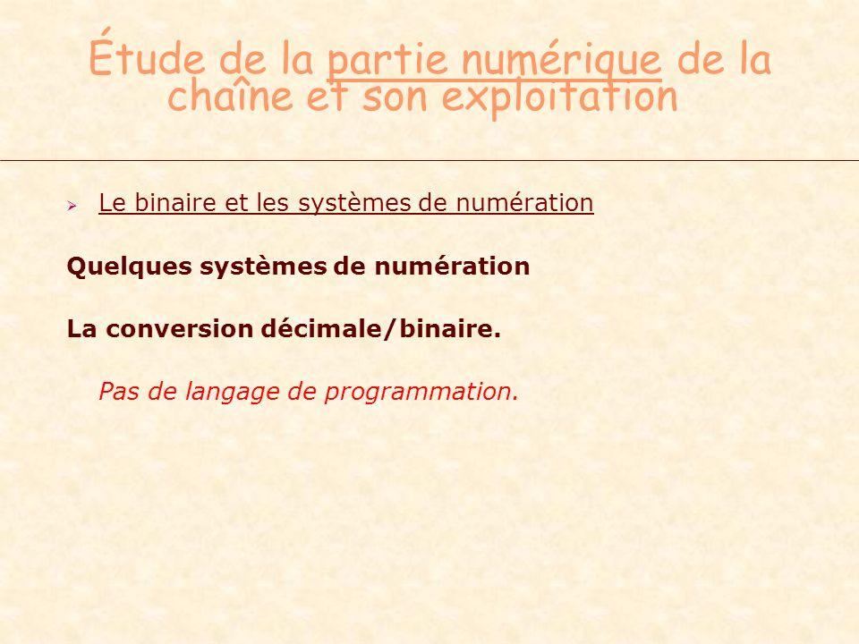 Étude de la partie numérique de la chaîne et son exploitation Le binaire et les systèmes de numération Quelques systèmes de numération La conversion d