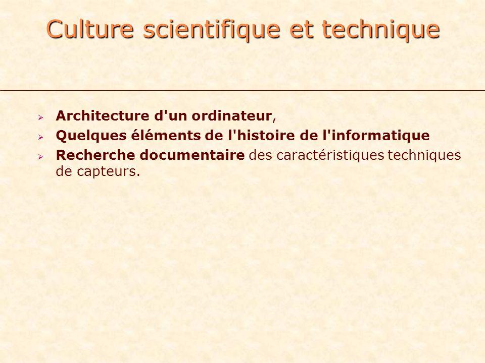 Culture scientifique et technique Architecture d'un ordinateur, Quelques éléments de l'histoire de l'informatique Recherche documentaire des caractéri