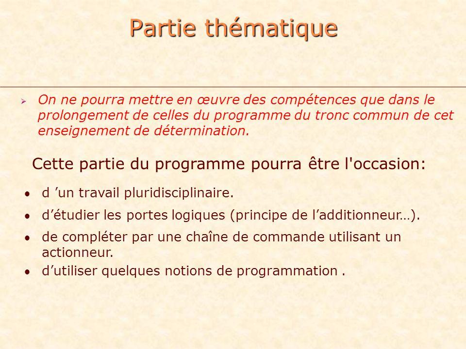 Partie thématique On ne pourra mettre en œuvre des compétences que dans le prolongement de celles du programme du tronc commun de cet enseignement de