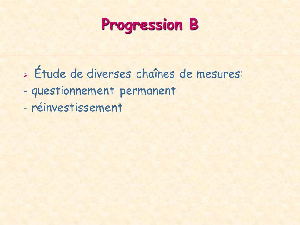 Progression B Étude de diverses chaînes de mesures: - questionnement permanent - réinvestissement