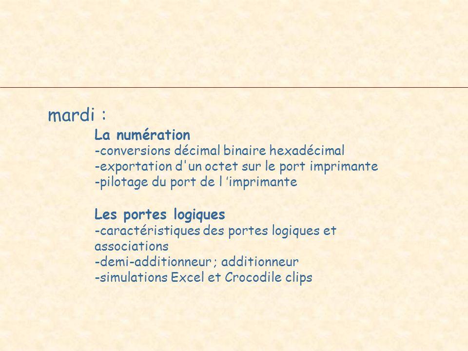 mardi : La numération -conversions décimal binaire hexadécimal -exportation d'un octet sur le port imprimante -pilotage du port de l imprimante Les po