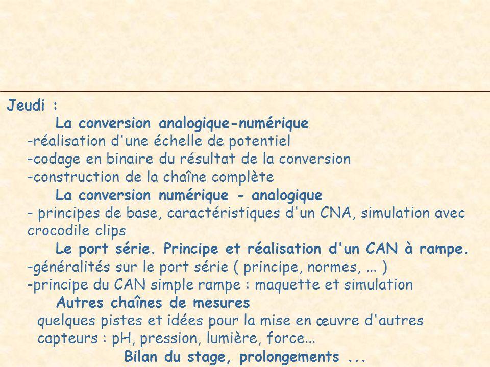 Jeudi : La conversion analogique-numérique -réalisation d'une échelle de potentiel -codage en binaire du résultat de la conversion -construction de la