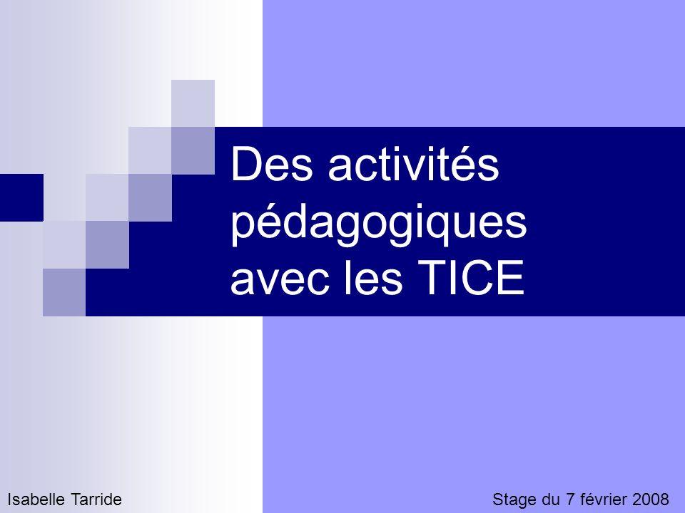 Des activités pédagogiques avec les TICE Isabelle TarrideStage du 7 février 2008