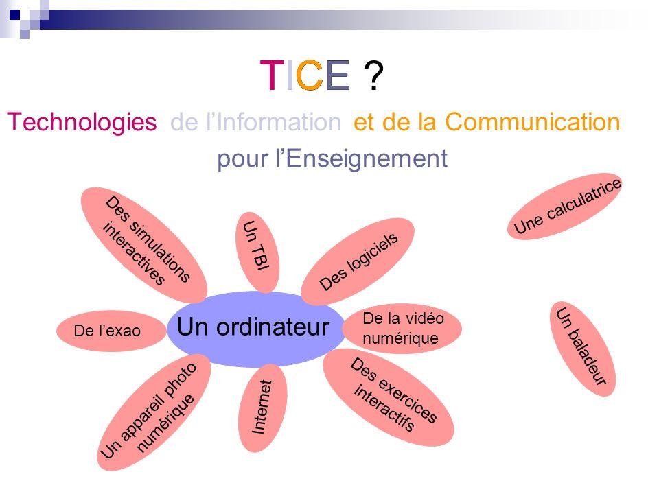 TICE ? Technologiesde lInformation et de la Communication pour lEnseignement Un ordinateur Des logiciels Un TBI Un appareil photo numérique Internet D