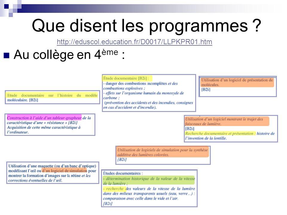 Que disent les programmes ? Au collège en 4 ème : http://eduscol.education.fr/D0017/LLPKPR01.htm