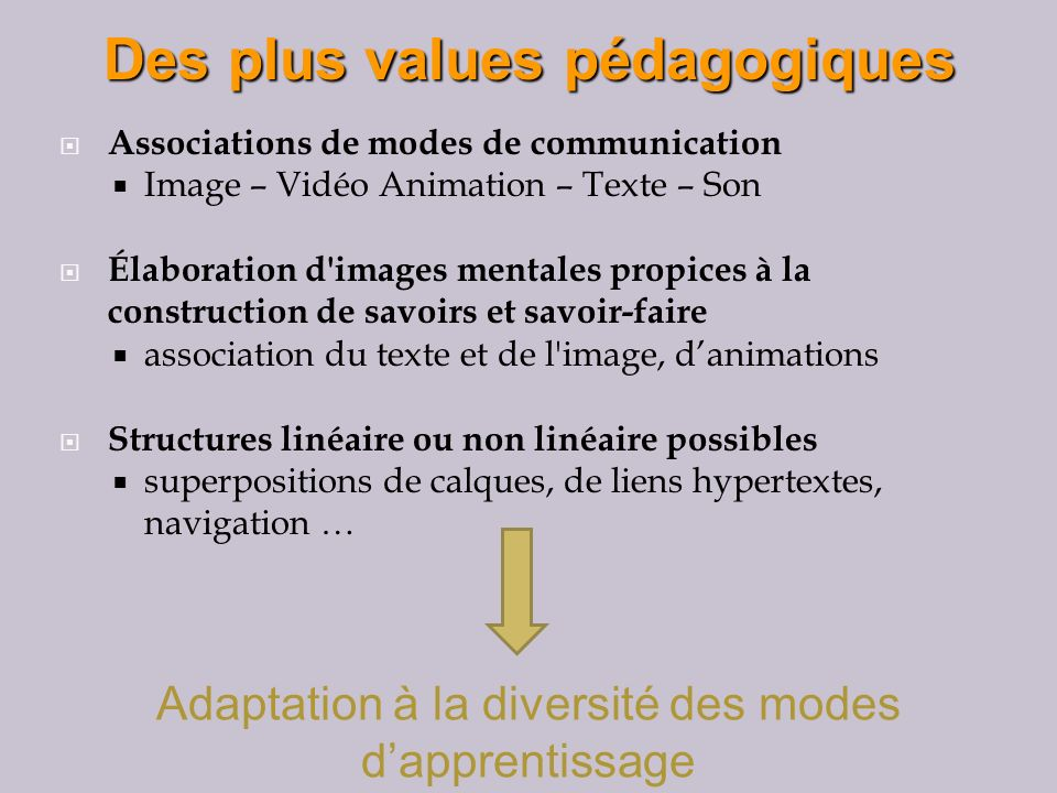 Associations de modes de communication Image – Vidéo Animation – Texte – Son Élaboration d images mentales propices à la construction de savoirs et savoir-faire association du texte et de l image, danimations Structures linéaire ou non linéaire possibles superpositions de calques, de liens hypertextes, navigation … Des plus values pédagogiques Des plus values pédagogiques Adaptation à la diversité des modes dapprentissage