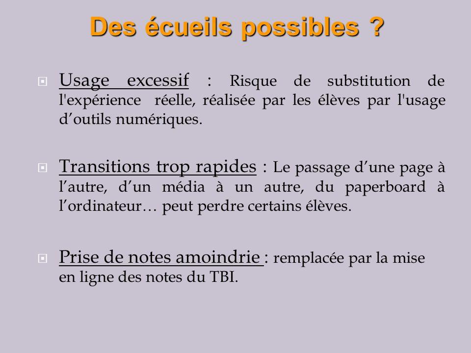 Usage excessif : Risque de substitution de l expérience réelle, réalisée par les élèves par l usage doutils numériques.