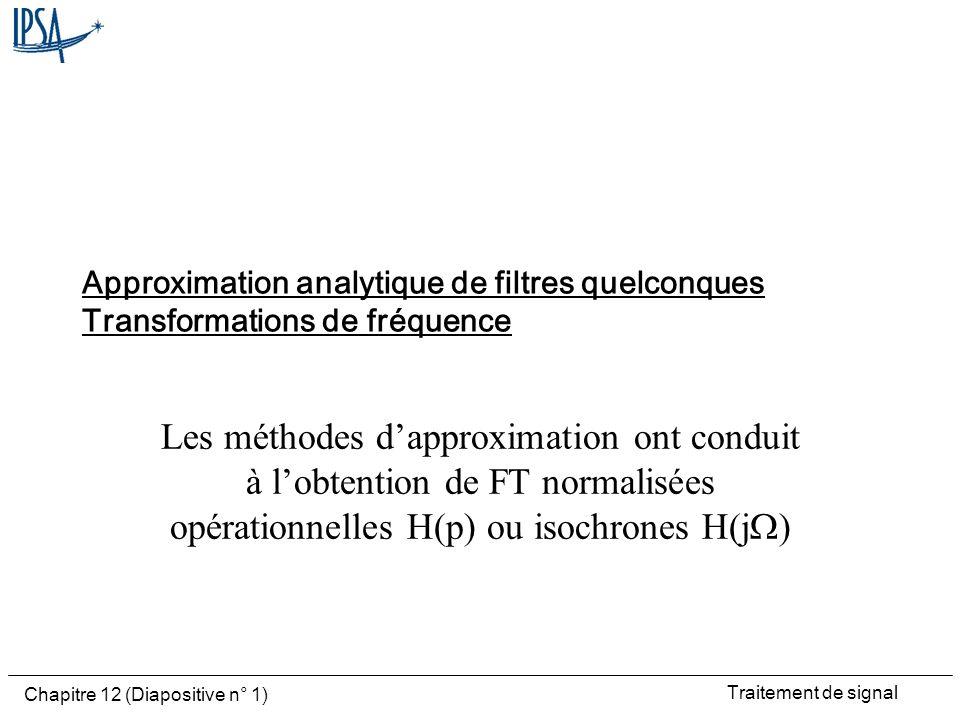 Traitement de signal Chapitre 12 (Diapositive n° 1) Approximation analytique de filtres quelconques Transformations de fréquence Les méthodes dapproxi