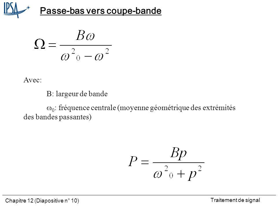 Traitement de signal Chapitre 12 (Diapositive n° 10) Passe-bas vers coupe-bande Avec: B: largeur de bande 0 : fréquence centrale (moyenne géométrique