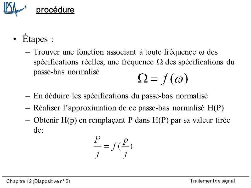Traitement de signal Chapitre 12 (Diapositive n° 2) procédure Étapes : –Trouver une fonction associant à toute fréquence des spécifications réelles, u