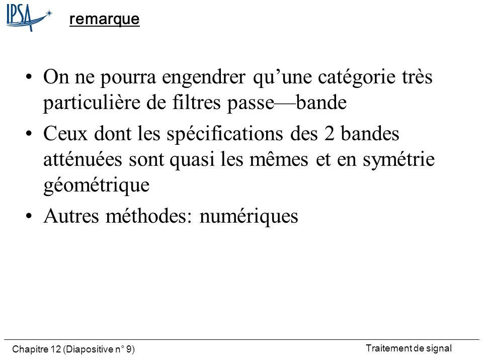 Traitement de signal Chapitre 12 (Diapositive n° 9) remarque On ne pourra engendrer quune catégorie très particulière de filtres passebande Ceux dont