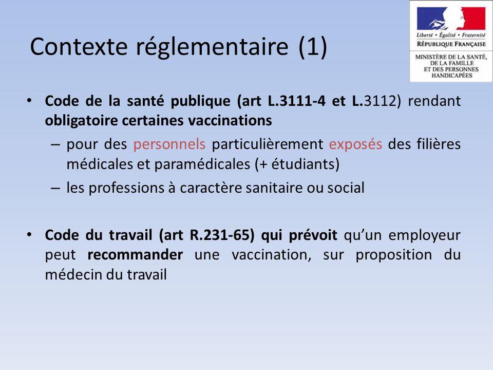 Politique vaccinale volontariste = enjeu majeur de santé publique : circulaire interministérielle du 19/08/09 : plan stratégique national 2009-2013 de prévention des IAS Contexte réglementaire (2)