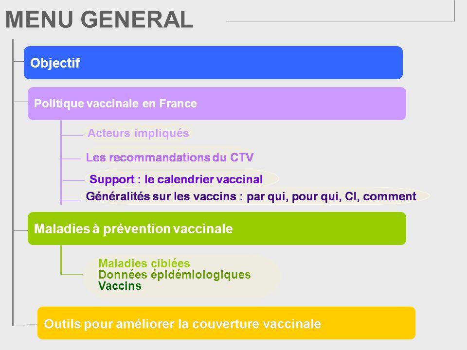 POLITIQUE VACCINALE EN FRANCE Acteurs impliqués Support : le calendrier vaccinal * Comité technique des vaccinations Les vaccins Pour qui Par quiComment Contre-indications Les recommandations du CTV*